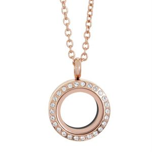 Picture of Mini Rose Gold with Crystals Locket